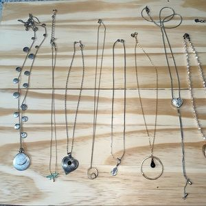 Vintage Sterling silver and plated necklace lot